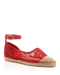 Cole Haan Noomi Lace Ankle Buckle Espadrille Flats Red