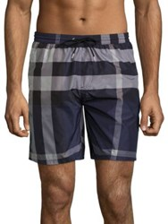 Burberry Gowers Plaid Shorts Blue