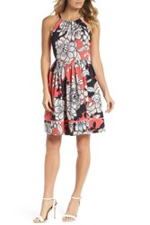 Vince Camuto Floral Fit And Flare Dress Regular And Petite Pink Multi