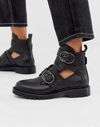Bronx Leather Flat Buckle Strap Boots In Black