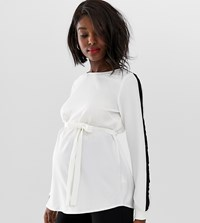 Mamalicious Maternity Side Stripe Tie Detail Top White