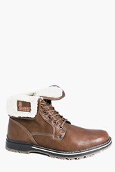 Boohoo Lined Fold Down Boots Brown