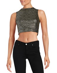 Design Lab Lord And Taylor Glitter Crop Top Black Gold