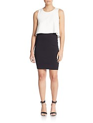 Saks Fifth Avenue Red Colorblock Ponte Dress Black