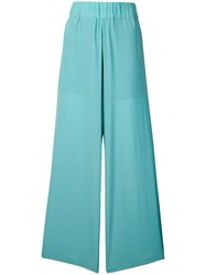 Semicouture Flared Silk Trousers Blue