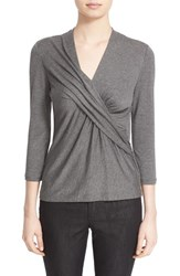 Lafayette 148 New York Petite Women's Pleat Wrap Front Top Nickel