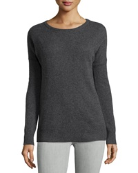 Minnie Rose Cashmere Relaxed Pullover Sweater Obsidian
