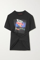 Paco Rabanne Twisted Printed Cotton Jersey T Shirt Black
