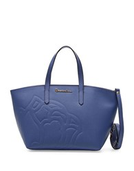 Braccialini Ninfea Crossbody Leather Tote Blue