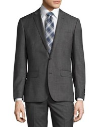 Neiman Marcus Modern Fit Sharkskin Two Piece Wool Suit Charcoal