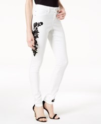Inc International Concepts I.N.C. Petite Embroidered Skinny Jeans Created For Macy's White Denim
