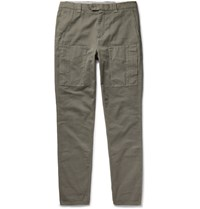 Brunello Cucinelli Slim Fit Cotton Cargo Trousers Army Green