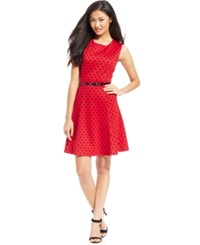 Ny Collection Petite Polka Dot A Line Dress Red Pinball
