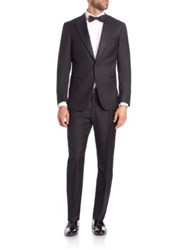 Isaia Single Button Wool Tuxedo Black