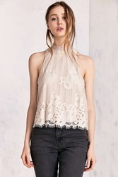 Kimchi And Blue Tilly Lace Mock Neck Top Ivory