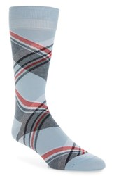 Lorenzo Uomo Diagonal Plaid Crew Socks Light Blue