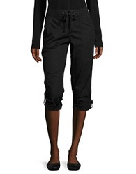 Lord And Taylor Petite Roll Tab Cropped Pants Black
