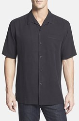 Tommy Bahama Men's Big And Tall 'Catalina Twill' Short Sleeve Silk Camp Shirt Black