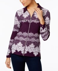 Inc International Concepts Zip Front Lace Shirt Only At Macy's Purple Combo