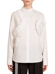 Cedric Charlier Ruffle Button Down Shirt White