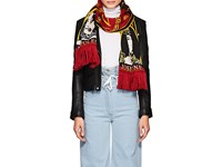 Y Project Women's Portrait Double Faced Wool Blend Scarf Black Red
