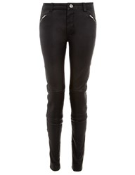 Blk Dnm Leather Ribbed Knee Trousers 1 Black