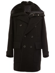Juun.J Contrast Collar Coat Black