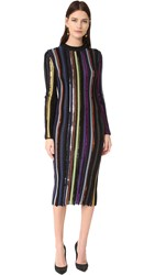 Nina Ricci Long Sleeve Knit Dress Green Purple Blue