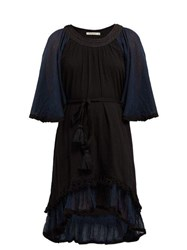 Mes Demoiselles Gregale Embroidered Cotton Voile Midi Dress Black Navy