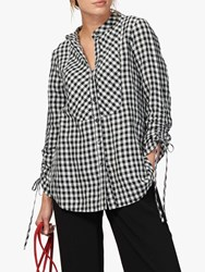 Brora Gingham Linen Tunic Top Monochrome