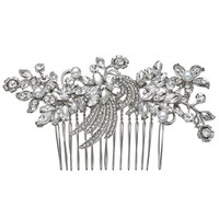 John Lewis Floral And Faux Pearl Hair Slide Silver
