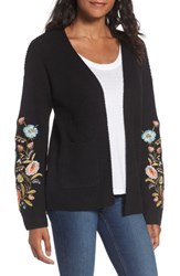 Woven Heart Women's Embroidered Cardigan Black