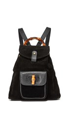 Wgaca What Goes Around Comes Around Gucci Suede Bamboo Backpack Previously Owned Black