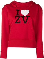 Zadig And Voltaire Fashion Show I Love Zv Hoodie Red