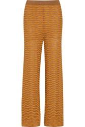 M Missoni Metallic Crochet Knit Wide Leg Pants Saffron