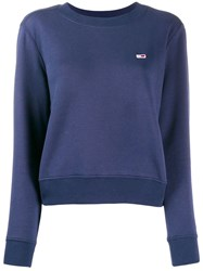 Tommy Jeans Logo Embroidered Sweater Blue