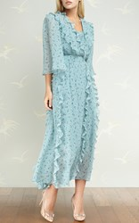 Ulyana Sergeenko Demi Couture Ruffle Detail Floral Dress Blue