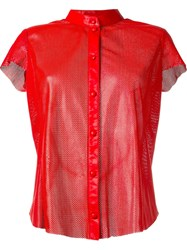 Drome Perforated Collarless Shirt Red