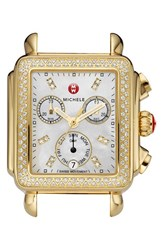 Michele Women's 'Deco Diamond' Diamond Dial Gold Plated Watch Case 33Mm X 35Mm Gold