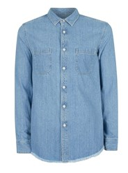 Topman Blue Stone Wash Denim Short Sleeve Casual Shirt