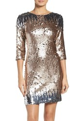 Bb Dakota Women's Elise Sequin Body Con Dress Champagne Silver