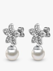 Dyrberg Kern Nanda Flower Crystal And Faux Pearl Drop Earrings Silver White