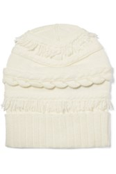 Agnona Fringed Cable Knit Wool And Cashmere Blend Beanie Ivory