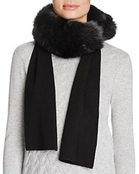 Magaschoni Removable Fox Fur Paneled Cashmere Scarf Black