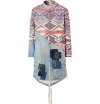 Greg Lauren Modern Artist Panelled Distressed Denim And Jacquard Knit Parka Multi