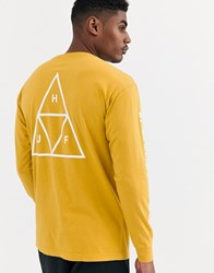 Huf Essentials Triple Triangle Long Sleeve T Shirt With Arm And Back Print In Yellow