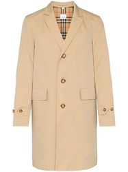 Burberry Single Breasted Trench Coat Brown