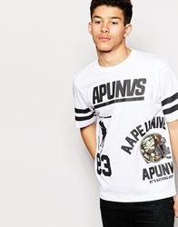 Aape By A Bathing Ape Aape T Shirt With Unvs Print Whiteblack