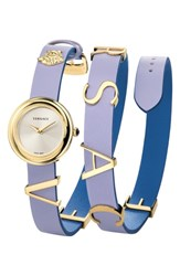 Versace V Flare Double Wrap Leather Strap Watch 28Mm Purple Silver Gold