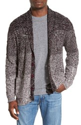 Men's Original Paperbacks 'Boston' Colorblock Mixed Knit Shawl Collar Cardigan Wine